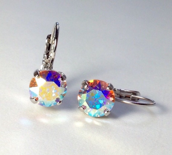 Swarovski Crystal 8.5mm Lever- Back Drop Earrings - Classy - Aurora Borealis   OR Choose Your Favorite Color and Finish -  FREE SHIPPING