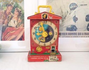 Toy Fisher - Price Music Box Teaching Clock. 1962