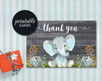 Elephant Thank You Card Printable Boy Baby Shower Birthday