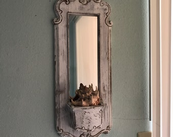 Decorative Vintage Distressed Mirror With Pocket Display Area,shabby chic mirror, medium mirror,farmhouse mirror,beach house mirror