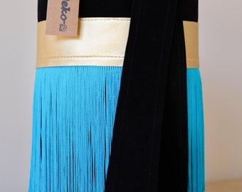 Leather, Leather Bag, Genuine Leather, Crossbody Bag, Shoulder bag, Silk Fringes, Everyday Bag, Unique Desing, Purse, Blue Bag, Black Bag