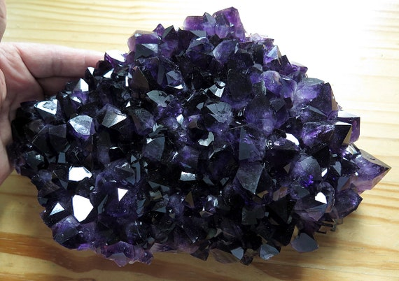 7.5 pound Jet Black Amethyst Crystal Plate. Not an ordinary amethyst. Black pocket hit in Uruguay. The plate is rich black - purple