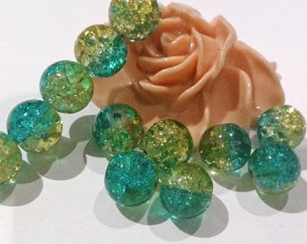 20 beads, Crackle, round, green and yellow glass 10 mm (67 (A)