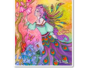 Signed 8 x 10 Print Peacock in Spring Art Pink Nouveau Goddess Diva Mother Nature B. K . Lusk