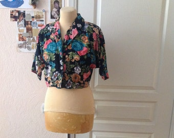 Floral Crop Top Botanical Short Sleeve Blazer Highlighted Waist Small Medium