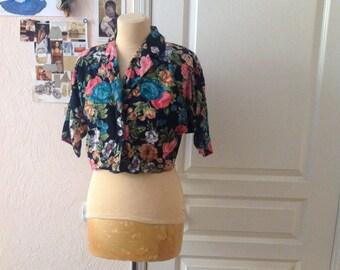 Floral Crop Blouse Botanical Short Sleeve Blazer Highlighted Waist Small Medium