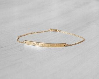 Dainty Coordinates Bracelets - Custom Coordinates Bracelets - Personalized Latitude Longitude in Silver, Gold, Rose Gold - LA05