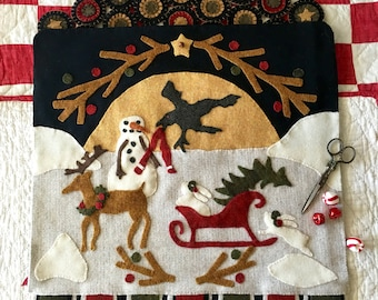 Wool Applique Primitive Heaven and Nature Sing Pattern
