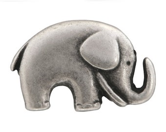 4 Jaybo Baby Elephant 3/4 inch ( 20 mm ) Metal Buttons Antique Silver Color