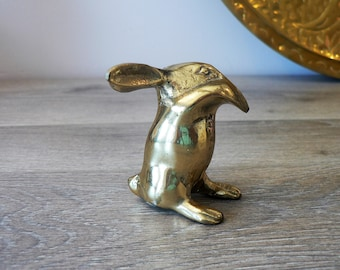 Vintage Small Brass Bunny Figurine