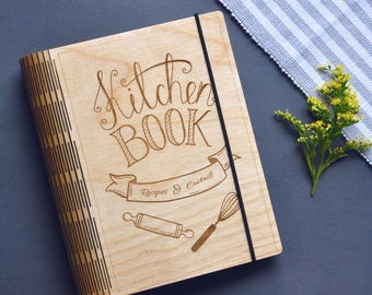Wooden Kitchen Recipe Notebook Binder Planner Cooking Personalized Book Gift for Bride Blank Cookbook Bridal Shower Recipe Journal Organizer