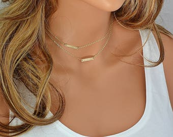 Layered Choker Necklace, Name Necklace, Dainty Layering Necklace, Tiny Bar Necklace, Custom Name Necklace, Gold, Silver, Rose Gold