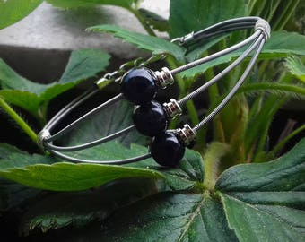 Guitar String 3 Row Bracelet, Guitar String Jewellery, Handmade Metallic Bracelet, Musician Jewellery