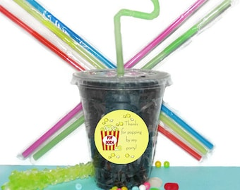 Popcorn Party Cups, Movie Party Cups, Kids Birthday Party Cups, 20 Cup Popcorn Kids Party Cups, Straws and Lids, 12 Ounce Cups