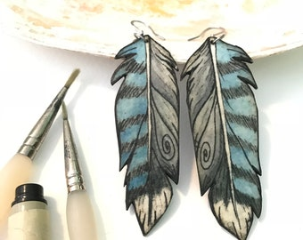 Blue Jay Feather earrings Hand Painted Watercolor Paper