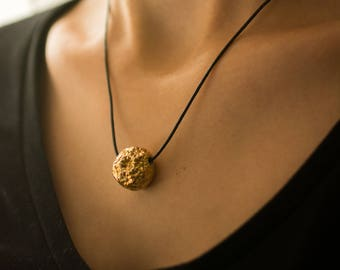 Gold Flowers Pendant, Ceramic Pendant Necklace, Black and Gold Pendant, Women Necklace, Pottery Jewelry, Clay Jewelry