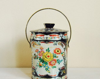 Vintage Tin, Murray Allen Tin Canister, Round Confection Floral Tin, Candy Tin, Mid century 50s England.