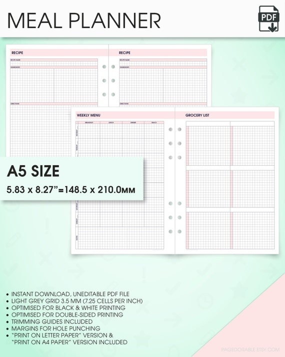 a5 planner template