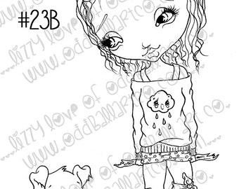 Digi Stamp Digital Instant Download Playing With Dog Big Eye Girl ~ Madison N Toby Image No. 23 & 23B by Lizzy Love