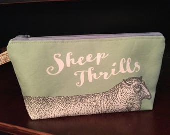 Sheep Knitting project bag, Cotton Linen Canvas, Sage