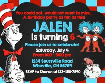 Birthday Invitations - Dr. Seuss - The Cat in the Hat