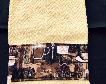 Yellow Kitchen Towel with Coffee Themed Band