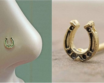 Horseshoe Gold Nose Stud Rose Gold Nose Ring