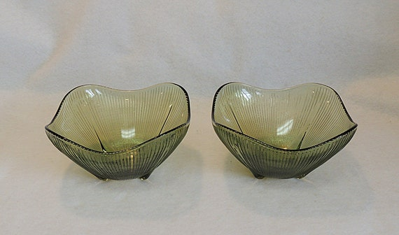2 Vintage Mid Century Olive Green Ribbed Glass Bowls.. Wavy Square Shape (#1)