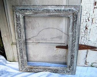 Large painted antique wood frame, distressed rustic picture frame, white, brown, vintage picture frame, carved wood frame, 16 x 20 inches