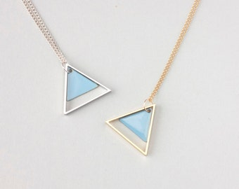 Large Geometric Two Triangle Necklace (Blue) - Modern Handmade Jewellery