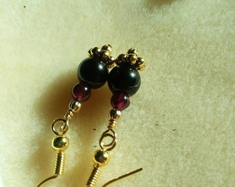 Blushing Ruby Red Garner Gemstone Earrings Unique Golden Minimalistic Jewelry