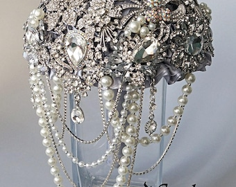 Full Crystal Brooch Bouquet Rhinestones Jewelry Bridal Wedding Silver Pearls Cascading, Diamante, Unique Wedding Bouquet, Broach, pearl