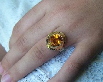 CITRINE cocktail ring, citrine statement ring, natural citrine ring, 70s style sunburst ring, citrine gold ring, large gem cocktail ring,