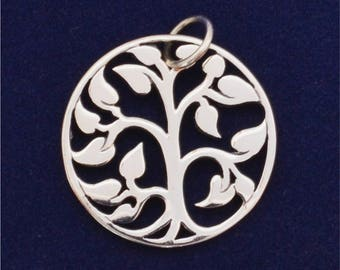 Large Sterling Silver Tree of Life Circle Pendant, 19.9mm, Double Sided 925 Sterling Charm, USA Seller (S122)