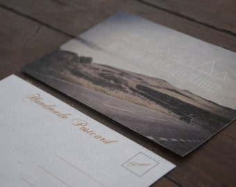 Road Less Traveled Postcard, Printed on Handmade Eco Friendly Mulberry Paper- England Peak District - Let's Run Away to the Hills