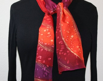 Red Silk Scarf. Orange Hand Painted Silk Shawl. Burgundy Hand Dyed Scarf FLAMES OF LOVE. Size 8x54. Birthday, Anniversary Gift. Gift-Wrapped