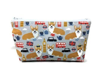 Corgis in London, Makeup Bag, British Corgi Bag, Makeup Pouch, Zipper Pouch, Zipper Bag, Dog Cosmetic Bag, Dog Zipper Bag, Dog Pouch