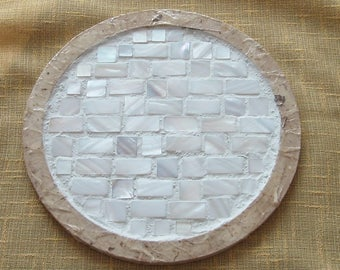 Round mother of pearl mosaic