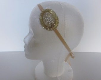 1920s Bridal headband, Great gatsby Pearl fascinator flower girl champagne headpiece, great gatsby 1920s stretch headband, elastic