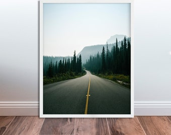 Mountain Road Print Forest Road Photography Print Mountain Photography Road Trip Wall Art DIGITAL DOWNLOAD Landscape Wall Art Road Pictures