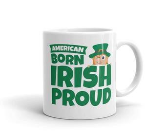 American Born Irish Proud Winking Leprechaun St. Patrick's Day Mug