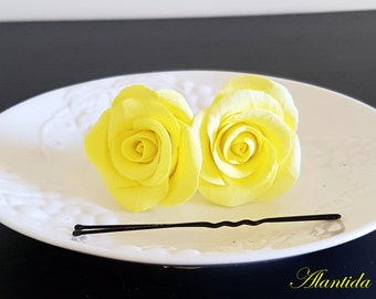 Wedding Hair Pin with  Yellow  Roses Wedding Accessories Bridal Hair Pin Wedding Flower