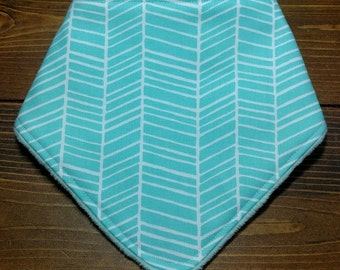 Reversible Baby Bibdana Aqua Herringbone with Opal/Aqua Dimple Minky Newborn Infant Baby Boy Girl Drool Pad Bandana Bib ITEM #270