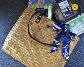 Handmade beach/shopping bag : natural colour