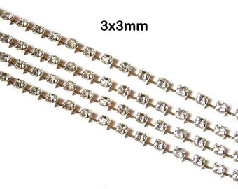 Rhinestone Chain Silver Plated Brass Strass Jewelry Finding Chains 3x3mm-L07