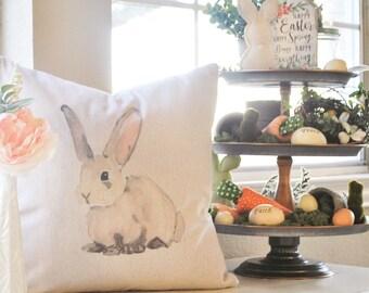 Farmhouse Easter Pillow Cover | Easter Bunny Throw Pillow | Watercolor Pillow Cover | Farmhouse Cottage Decor | Easter Decor