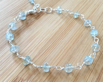 Aquamarine Bracelet, Sterling Silver Bracelet, Wire Wrapped Bracelet, Ice Blue Aquamarine Jewelry, March Birthstone Bracelet
