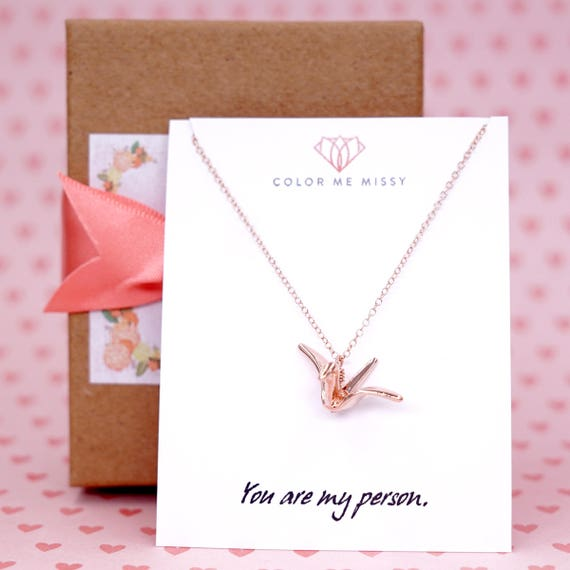 Rose Gold Rose Gold Origami Crane Necklace -  girlfriend bff lucky brides bridal shower gifts, bridesmaid, pink gold weddings N168