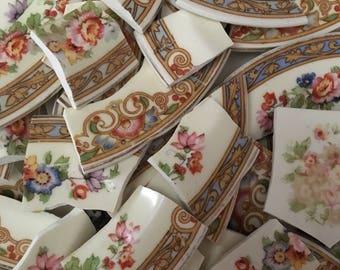 Mosaic Tiles Mix Broken Plate Art Hand Cut Pieces Supply China Flower Chintz Vintage 100