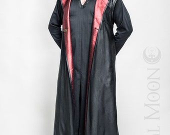 "NEW: Men's Black Textured Faux Leather ""Druid Duster"" REVERSIBLE to Black or Red by Opal Moon Designs (Size S-XXL)"